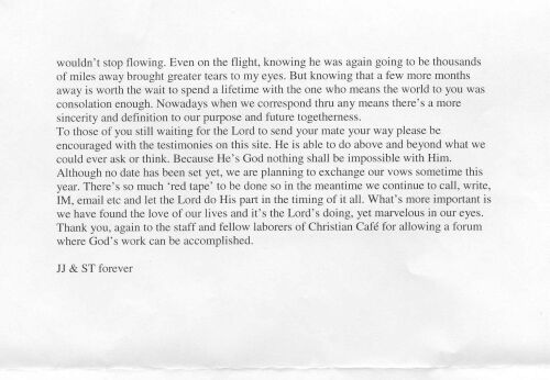 Rest of letter of their relationship