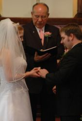 Exchanging vows in front of the minister