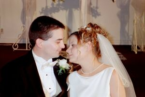 American Christian singles prepare to kiss after meeting and marrying