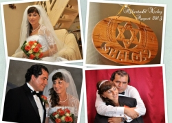 A collage of wedding photo and a tender hug filled with laughter