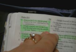 The engagement ring on the Bible