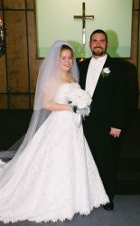 Texas Christians not only meet, but marry. Shown here smiling at church on their wedding day