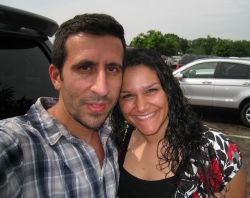 Kentucky Christian single finds her soulmate and poses next to him in a parking lot