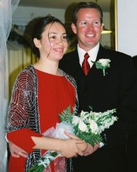 American Christian couple smile together