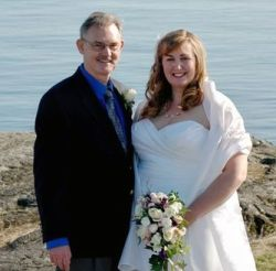Joyful wedding day for BC couple with ocean in background