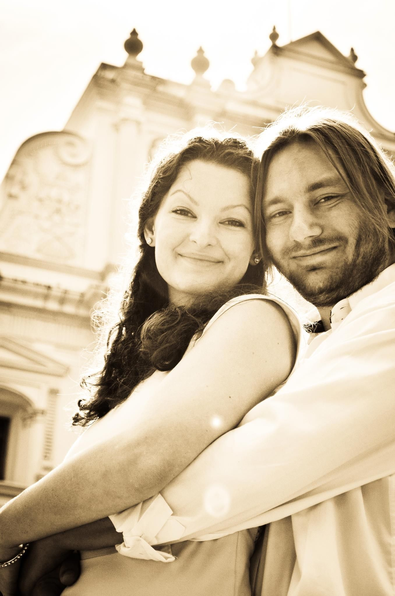 Former Christian single hugs his wife
