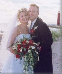 Former single Christians from Michigan look overjoyed on their wedding day