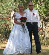 Senior Christians smile after marrying