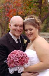 Former Wisconsin Christian singles look really joyful on their wedding day in Autumn