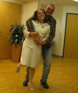 Bruce and Nadine have their first dance in the waiting room
