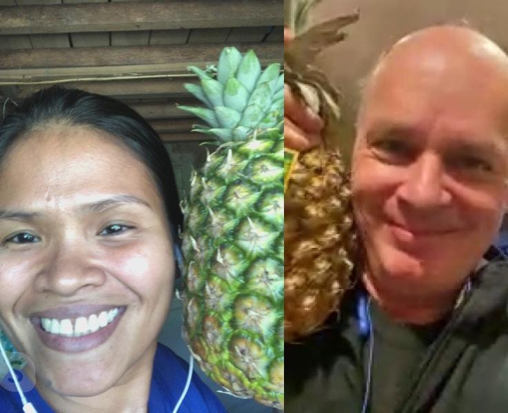 Canadian Christian couple each holding a pineapple while on a video call