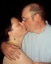 Happy Christian marriage kiss