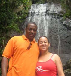 Former single Christians pose together in front of a waterfall