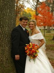 Online dating for Christians brought these happy newlyweds together for their Autumn wedding