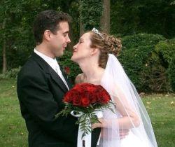 Bride kisses groom to stop him talking
