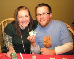 Minnesota Christian singles baking for Christmas together while laughing together
