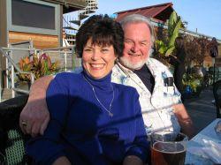 David and Linda cozy up outdoors