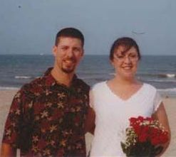 Beach wedding for this Christian couple who smile together