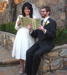 Newly married librarians reading together