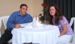 Christian singles on a romantic dinner date