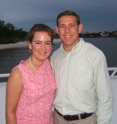 A well dressed attractive Christian couple on a boat