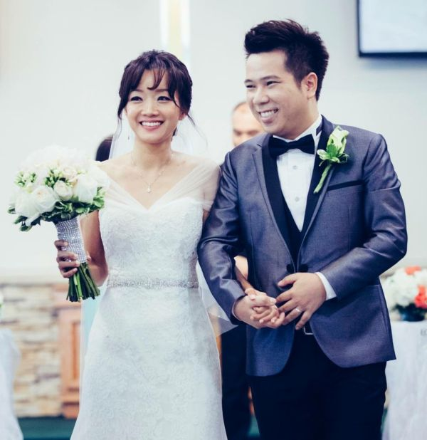 California Christian single marries local match and smiles as they walk down the aisle just married
