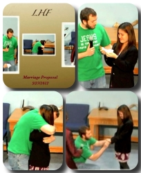 A collage of a man proposing to his wife, who gladly accepts and hugs him tightly