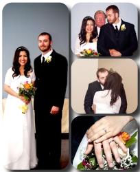 An elated Eyela and Robert on their wedding day