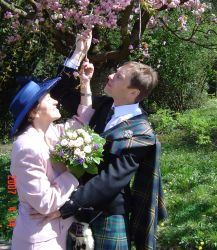 A man hugs a woman and pulls a flower off a tree as he prepares to kiss her