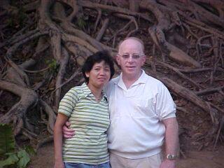 American Christian hugs his Filipina fiancee