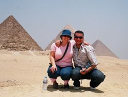 Happy Christian couple at the Great Pyramids