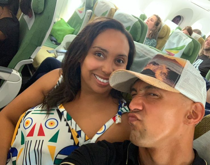 Silly faces on plane ride for Christian couple married 14 years