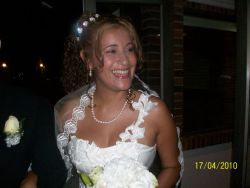 Ingris, overjoyed on her wedding day