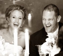 Bride and groom burst out laughing