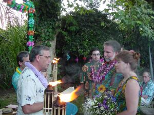 Christians get married covered in leis