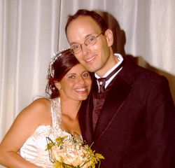 Christian single from Ontario finds his Brazilian wife. Shown here smiling together after marrying