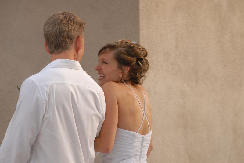 Christian bride laughs off nerves