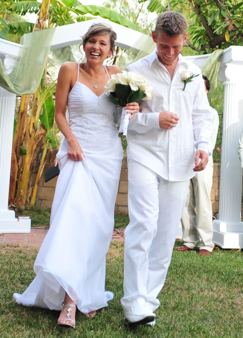 Elated Christian couple filled with joy after marrying