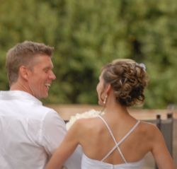 Christian soulmates shown as newlyweds walk away arm in arm