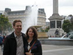 Katalin and Christopher at Trafalgar Square, London
