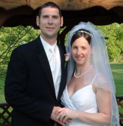 Cautious Christian single finds local match online. Shown here holding his new bride's hand