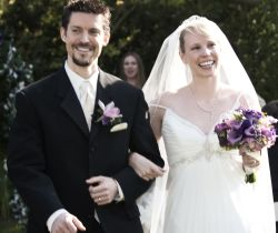 California singles marry and walk hand in hand at outdoor wedding