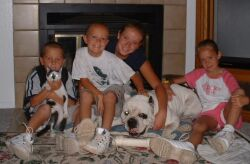 Cute dog with children