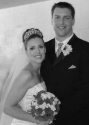 Laura with Chad on their wedding day