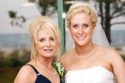 Proud Christian mother of the bride with her daughter
