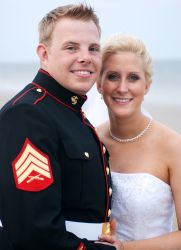 Young Christian single woman finds army man in this wedding pose