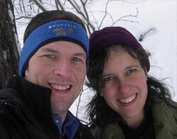 Cold outdoor shot can't spoil the joy for these Christian singles who lean in together