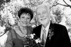 Christian advice turns to romance for these senior Christians who look very happy to be together on their wedding day