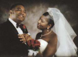 Kissing bride on the cheek
