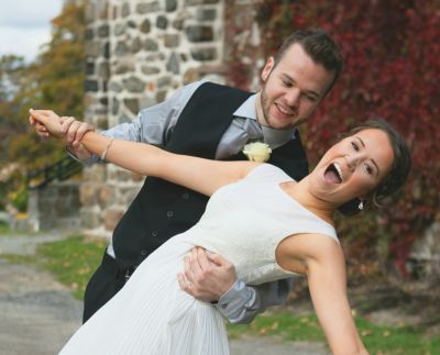 Ina and Matt beam with joy on their wedding day